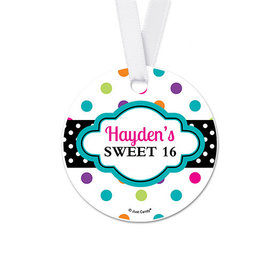 Personalized Round Sweet 16 Polka Dot Birthday Favor Gift Tags (20 Pack)