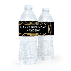 Personalized Birthday Art Deco Water Bottle Sticker Labels (5 Labels)