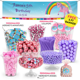 Personalized Kids Birthday Unicorn Themed Deluxe Candy Buffet