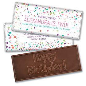 Personalized Birthday Colorful Splatter Embossed Chocolate Bar