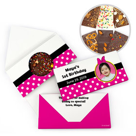 Personalized Birthday Minnie Themed Photo Gourmet Infused Belgian Chocolate Bars (3.5oz)