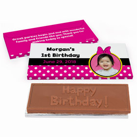 Deluxe Personalized Youth Birthday Minnie Mouse Photo Chocolate Bar in Gift Box