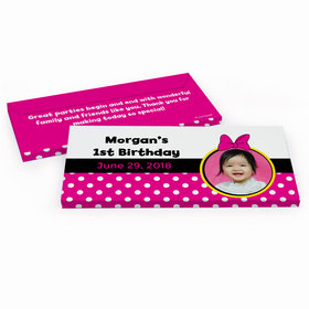 Deluxe Personalized Youth Birthday Minnie Mouse Photo Hershey's Chocolate Bar in Gift Box