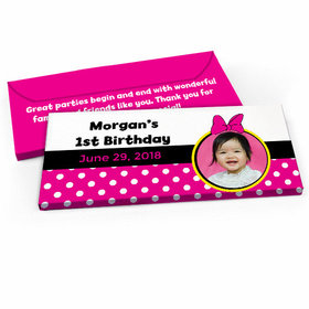 Deluxe Personalized Youth Birthday Minnie Mouse Photo Candy Bar Favor Box