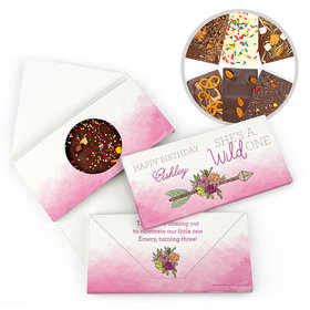 Personalized Birthday She's a Wild One Gourmet Infused Belgian Chocolate Bars (3.5oz)