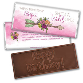 Personalized Birthday She's a Wild One Embossed Chocolate Bar