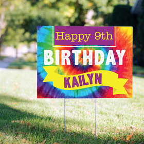 Birthday Yard Sign Personalized - Tie-Dye Rainbow