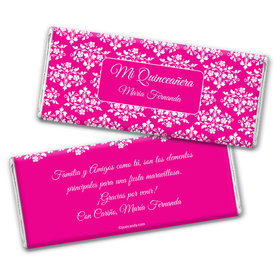 Quinceaera Personalized Chocolate Bar Wrappers Patrn de Flores