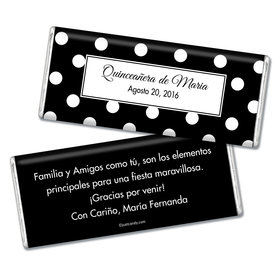Quinceaera Personalized Chocolate Bar Lunares