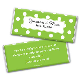 Quinceaera Personalized Chocolate Bar Wrappers Lunares