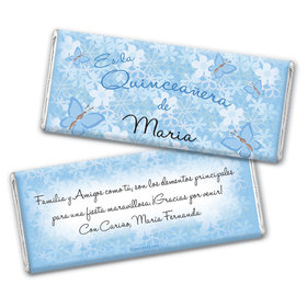 Quinceañera Personalized Chocolate Bar Wrappers Jardn de Mariposas