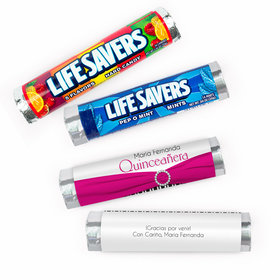 Personalized Quinceanera Rayas y el Arco Lifesavers Rolls (20 Rolls)
