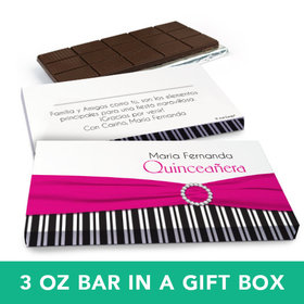 Deluxe Personalized Quinceaera Rayas y el Arco Chocolate Bar in Gift Box (3oz Bar)