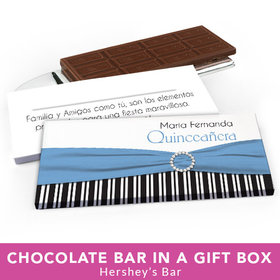 Deluxe Personalized Quinceanera Rayas y el Arco Chocolate Bar in Gift Box
