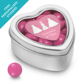 Personalized Small Heart Tin Quinceañera (25 Pack)