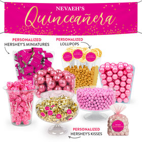 Personalized Quinceanera Elegant Confetti Deluxe Candy Buffet