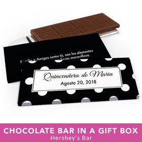 Deluxe Personalized Quinceanera Lunares Chocolate Bar in Gift Box