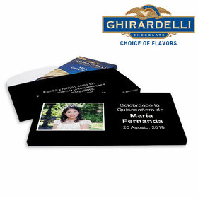 Deluxe Personalized Quinceanera Instantnea Ghirardelli Chocolate Bar in Gift Box