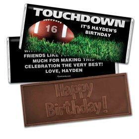 Birthday Personalized Embossed Chocolate Bar Football Touchdown