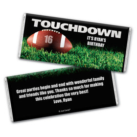 Birthday Personalized Chocolate Bar Wrappers Football Touchdown