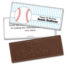 Birthday Personalized Embossed Chocolate Bar Baseball Party