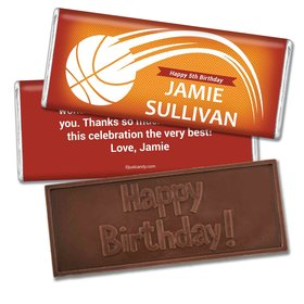 Birthday Personalized Embossed Chocolate Bar Basketball Swish