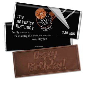 Birthday Personalized Embossed Chocolate Bar Basketball Hoop Slam Dunk