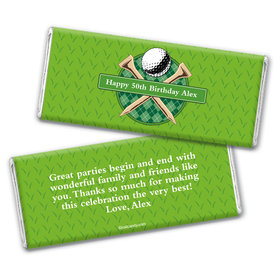 Birthday Personalized Chocolate Bar Wrappers Argyle Golf Ball