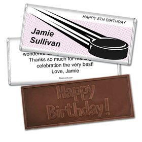 Birthday Personalized Embossed Chocolate Bar Hockey Puck