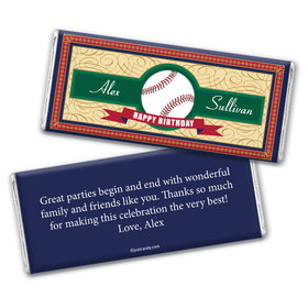 Birthday Personalized Chocolate Bar Wrappers Baseball Age