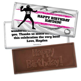 Birthday Personalized Embossed Chocolate Bar Football Quarterback