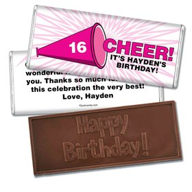 Birthday Personalized Embossed Chocolate Bar Sweet 16 Cheer