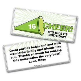 Birthday Personalized Chocolate Bar Wrappers Sweet 16 Cheer