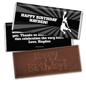 Birthday Personalized Embossed Chocolate Bar Basketball Slam Dunk
