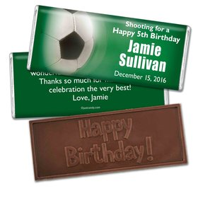 Birthday Personalized Embossed Chocolate Bar Large Soccer Ball