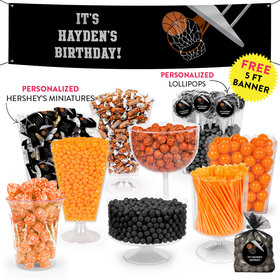 Personalized Kids Birthday Basketball Hoop Slam Themed Deluxe Candy Buffet