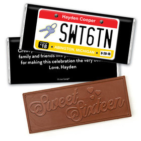 Birthday Personalized Embossed Chocolate Bar Sweet 16 License Plate