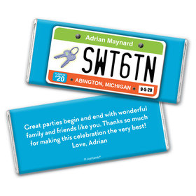 Birthday Personalized Chocolate Bar Wrappers Sweet 16 License Plate