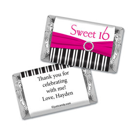 Birthday Personalized Hershey's Miniatures Wrappers Glamour Stripes Sweet 16
