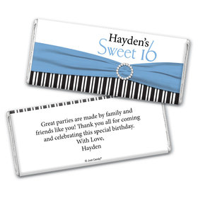 Birthday Personalized Chocolate Bar Wrappers Glamour Stripes Sweet 16