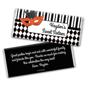 Birthday Personalized Chocolate Bar Wrappers Harlequin Masquerade