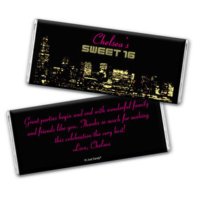 Birthday Personalized Chocolate Bar Wrappers City Night in Lights Skyline