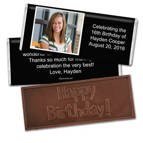 Birthday Personalized Embossed Chocolate Bar Photo & Message