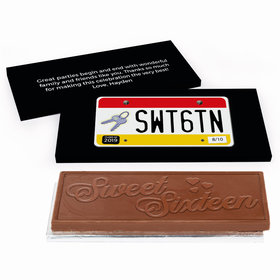 Deluxe Personalized Sweet 16 Birthday License Plate Chocolate Bar in Gift Box