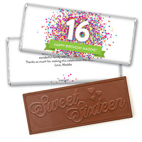 Personalized Sweet 16 Birthday Confetti Burst Embossed Chocolate Bar & Wrapper