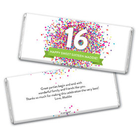 Personalized Sweet 16 Birthday Confetti Burst Chocolate Bar & Wrapper