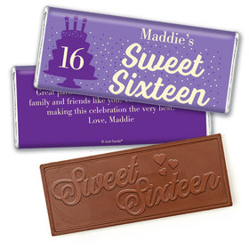 Personalized Sweet 16 Birthday Let's Celebrate Embossed Chocolate Bar & Wrapper