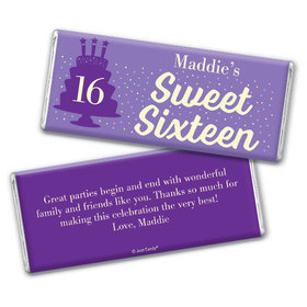 Personalized Sweet 16 Birthday Let's Celebrate Chocolate Bar & Wrapper