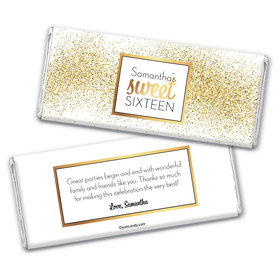 Personalized Sweet Sixteen Shower of Gold Chocolate Bar Wrappers