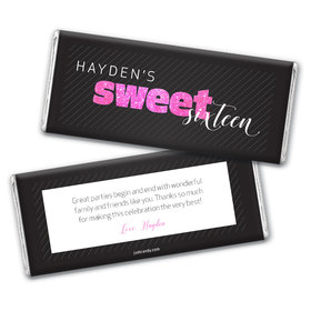 Personalized Sweet Sixteen Chic 16 Chocolate Bar Wrappers